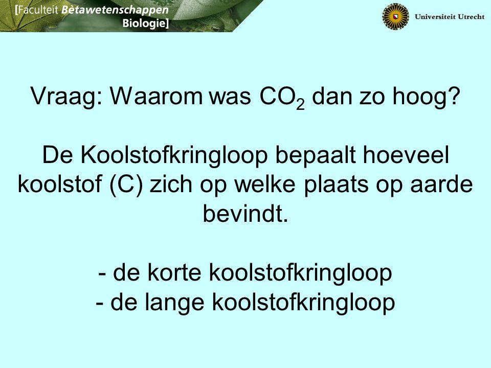Vraag: Waarom was CO 2 dan zo hoog? De Koolstofkringloop bepaalt hoeveel koolstof (C) zich op welke plaats op aarde bevindt. - de korte koolstofkringl