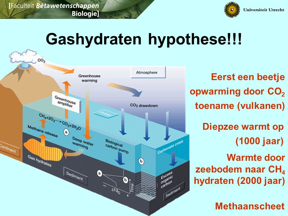 Gashydraten hypothese!!! Eerst een beetje opwarming door CO 2 toename (vulkanen) Diepzee warmt op (1000 jaar) Methaanscheet Warmte door zeebodem naar