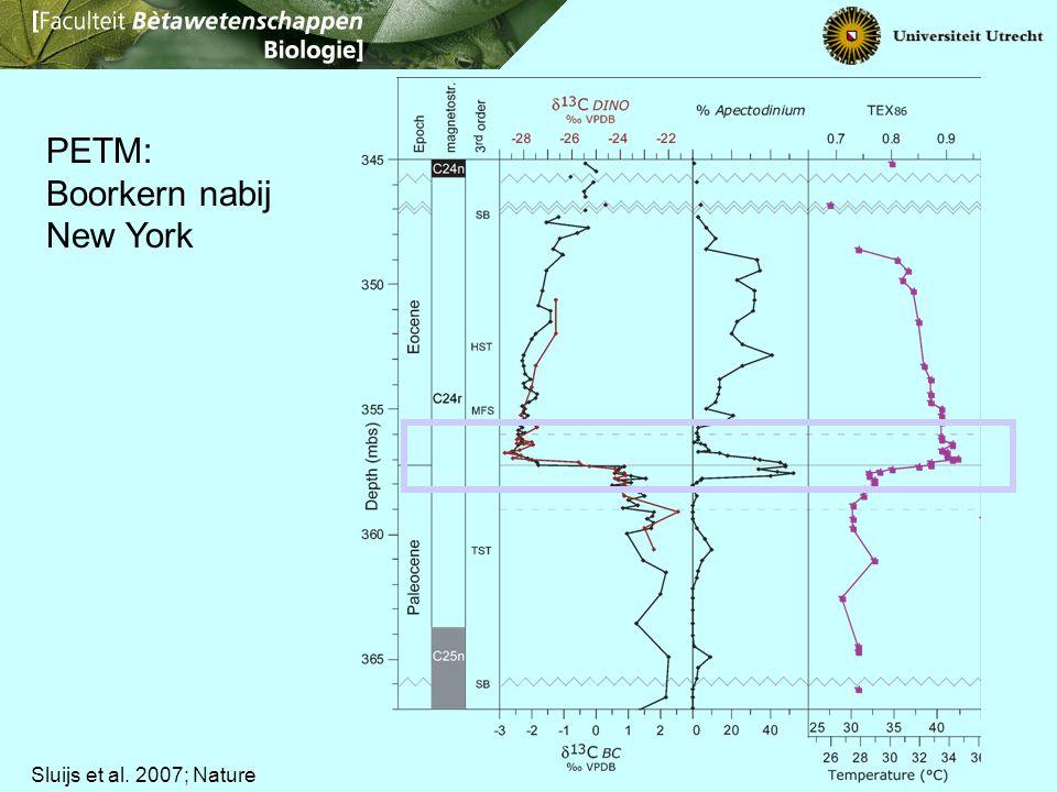 Sluijs et al. 2007; Nature PETM: Boorkern nabij New York