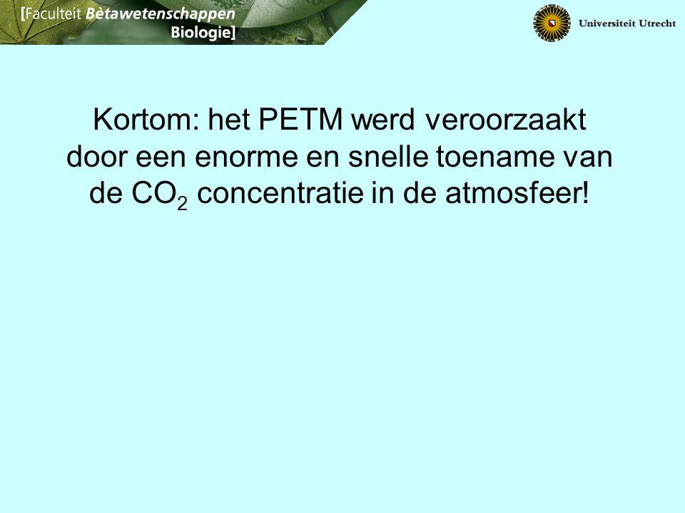 Kortom: het PETM werd veroorzaakt door een enorme en snelle toename van de CO 2 concentratie in de atmosfeer!