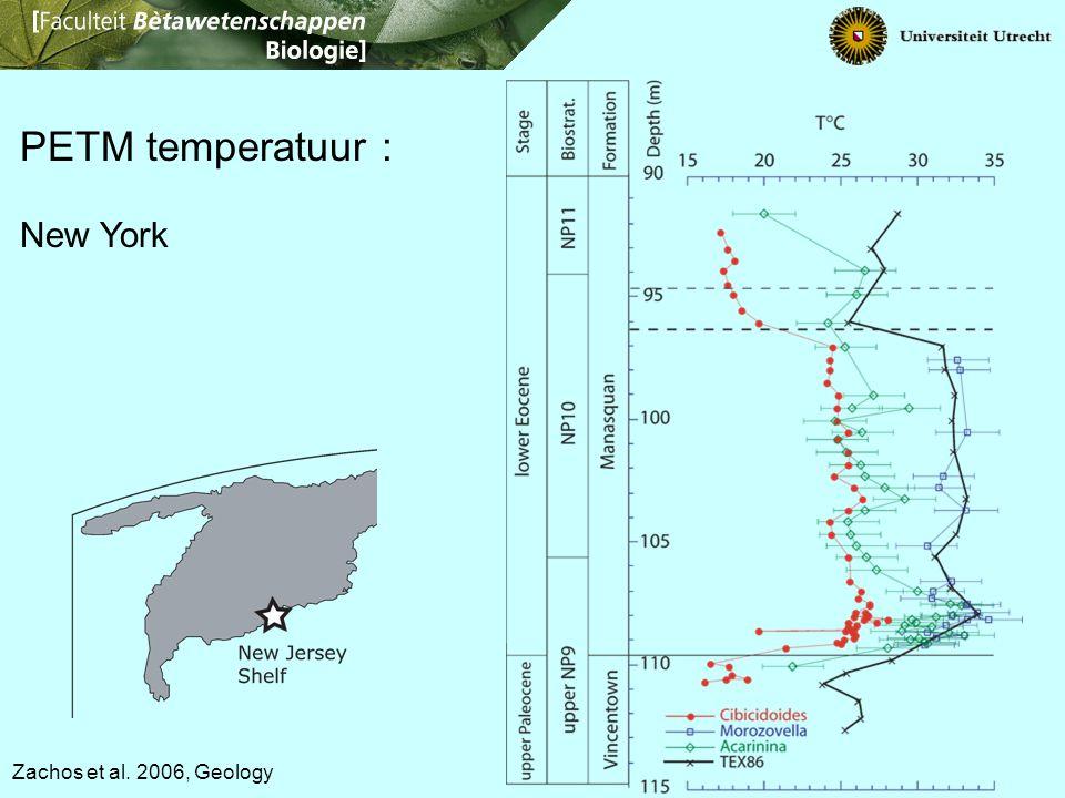 Zachos et al. 2006, Geology PETM temperatuur : New York