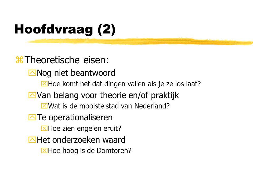 Hoofdvraag (2) zTheoretische eisen: yNog niet beantwoord xHoe komt het dat dingen vallen als je ze los laat.