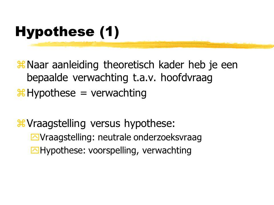 Hypothese (1) zNaar aanleiding theoretisch kader heb je een bepaalde verwachting t.a.v.