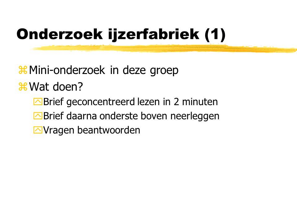 Onderzoek ijzerfabriek (1) zMini-onderzoek in deze groep zWat doen.