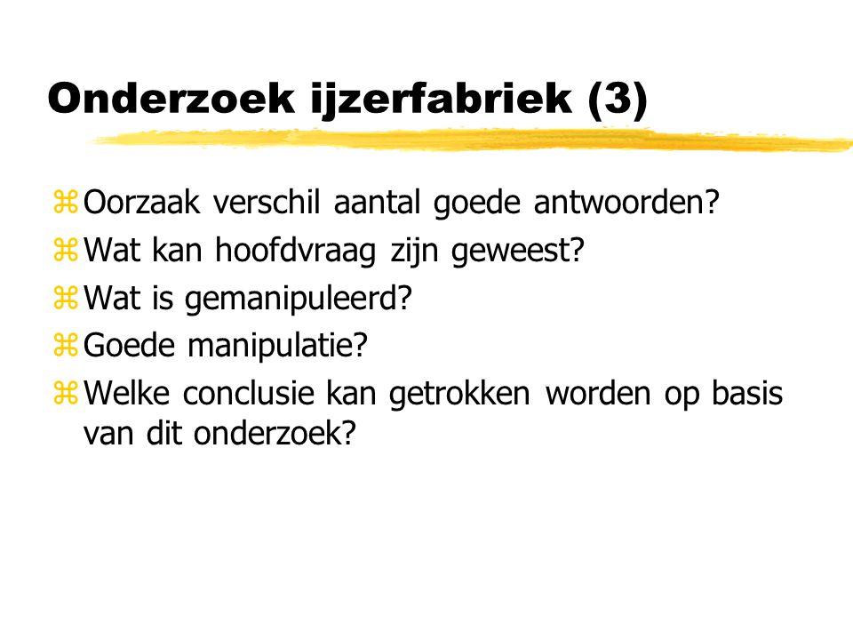 Onderzoek ijzerfabriek (3) zOorzaak verschil aantal goede antwoorden.