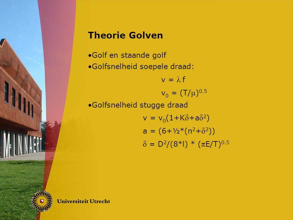 Theorie Golven Golf en staande golf Golfsnelheid soepele draad: v = λ f v 0 = (T/ μ ) 0.5 Golfsnelheid stugge draad v = v 0 (1+K δ +a δ 2 ) a = (6+½*(n 2 + δ 2 )) δ = D 2 /(8*l) * ( π E/T) 0.5