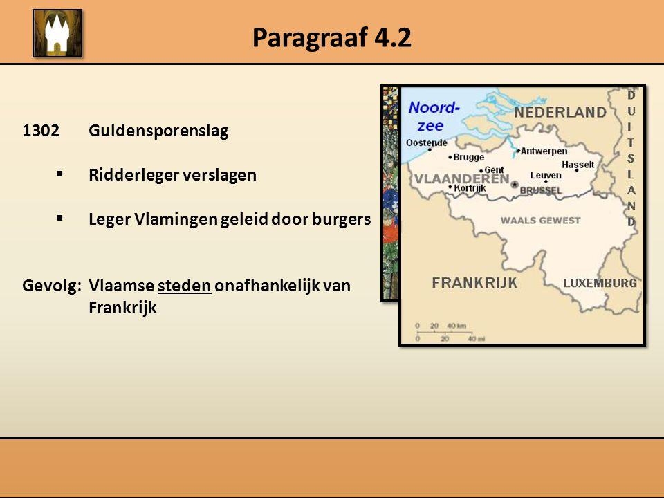 Paragraaf 4.2 1302Guldensporenslag  Ridderleger verslagen  Leger Vlamingen geleid door burgers Gevolg: Vlaamse steden onafhankelijk van Frankrijk