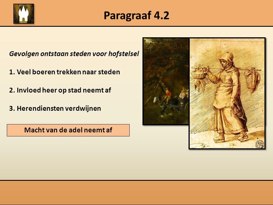 Paragraaf 4.2 Gevolgen ontstaan steden voor hofstelsel 1. Veel boeren trekken naar steden 2. Invloed heer op stad neemt af 3. Herendiensten verdwijnen