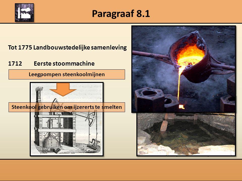 Paragraaf 8.1 Tot 1775 Landbouwstedelijke samenleving 1712 Eerste stoommachine Leegpompen steenkoolmijnen Thomas Newcomen (1663-1729) Steenkool gebruiken om ijzererts te smelten