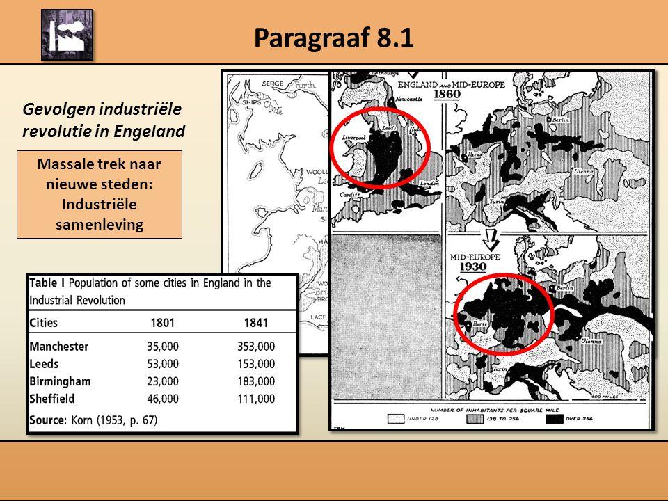 Paragraaf 8.1 Gevolgen industriële revolutie in Engeland Massale trek naar nieuwe steden: Industriële samenleving