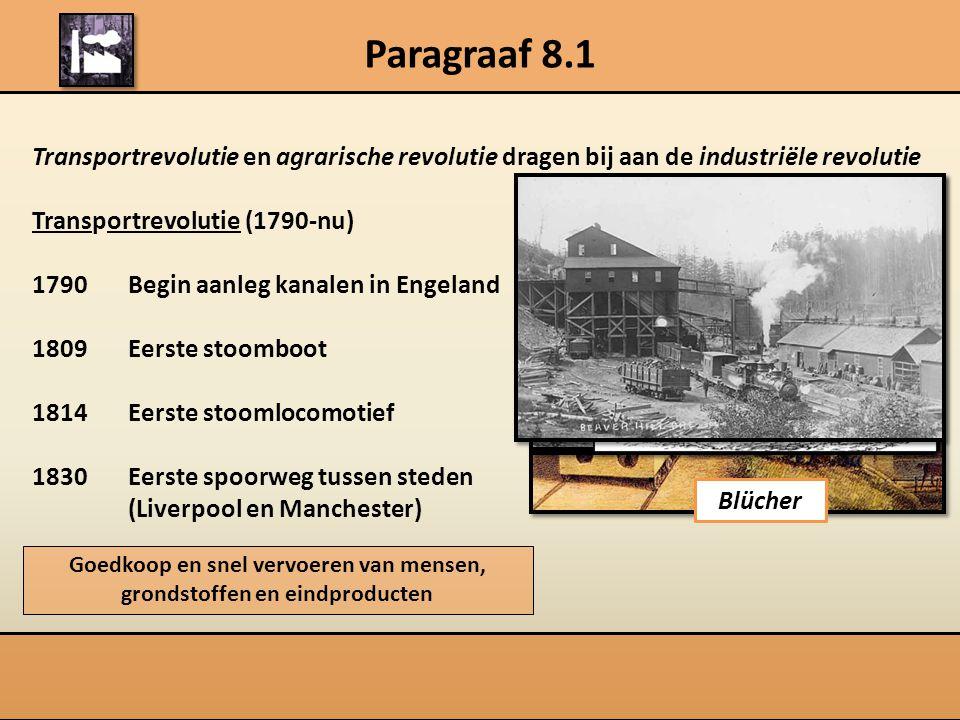 Paragraaf 8.1 Transportrevolutie en agrarische revolutie dragen bij aan de industriële revolutie Transportrevolutie (1790-nu) 1790 Begin aanleg kanale