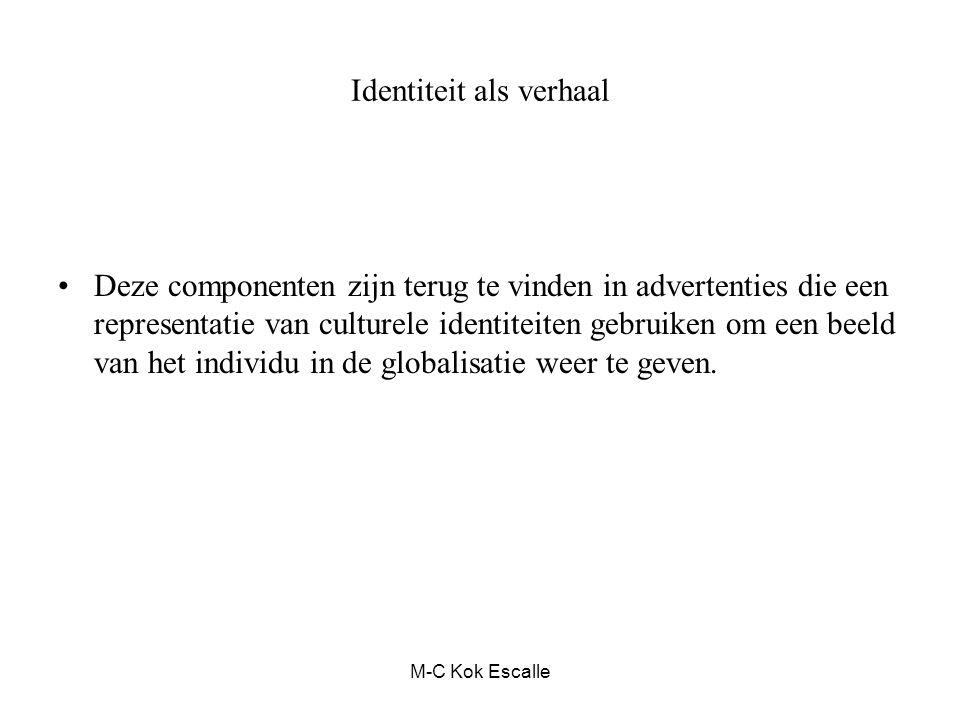 M-C Kok Escalle Identiteit als verhaal Deze componenten zijn terug te vinden in advertenties die een representatie van culturele identiteiten gebruiken om een beeld van het individu in de globalisatie weer te geven.