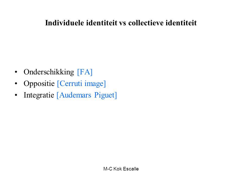 M-C Kok Escalle Individuele identiteit vs collectieve identiteit Onderschikking [FA] Oppositie [Cerruti image] Integratie [Audemars Piguet]