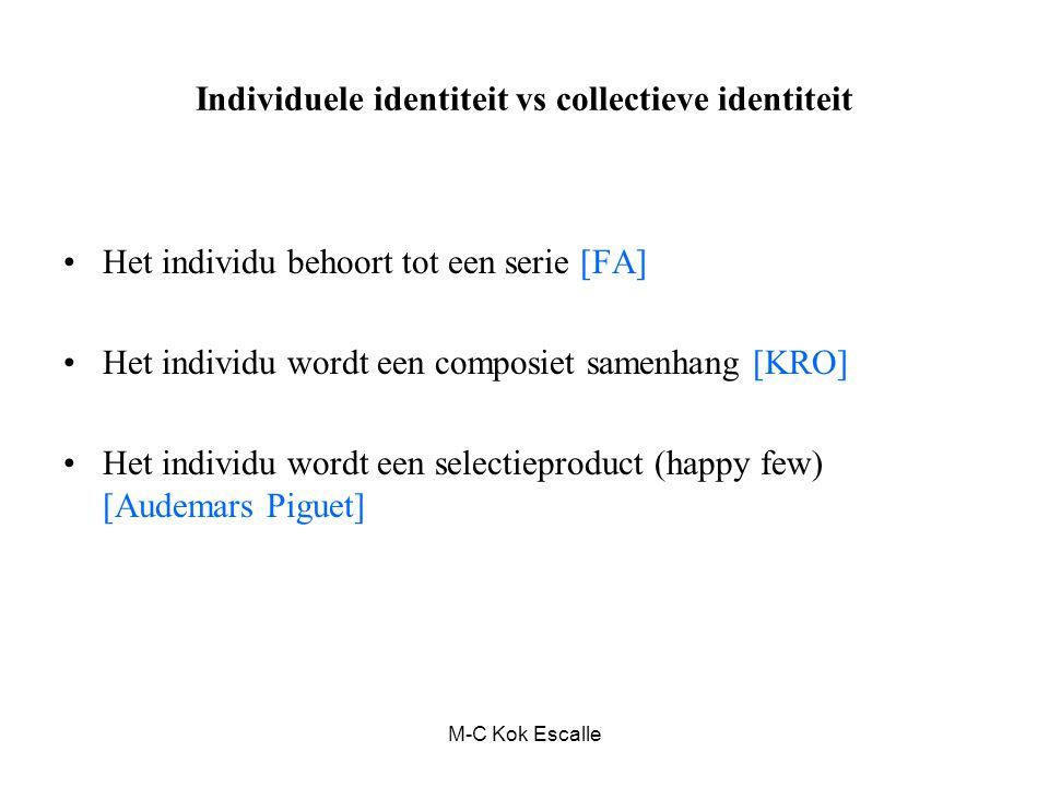 M-C Kok Escalle Individuele identiteit vs collectieve identiteit Het individu behoort tot een serie [FA] Het individu wordt een composiet samenhang [KRO] Het individu wordt een selectieproduct (happy few) [Audemars Piguet]