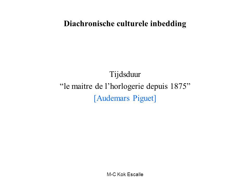 """M-C Kok Escalle Diachronische culturele inbedding Tijdsduur """"le maitre de l'horlogerie depuis 1875"""" [Audemars Piguet]"""