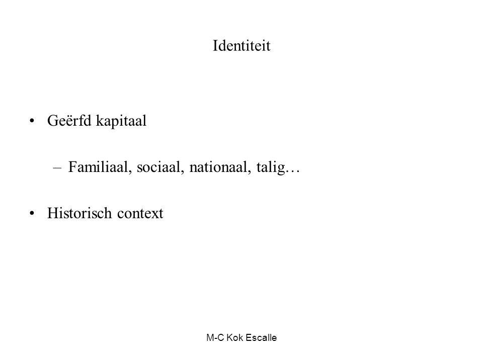 M-C Kok Escalle Identiteit Geërfd kapitaal –Familiaal, sociaal, nationaal, talig… Historisch context