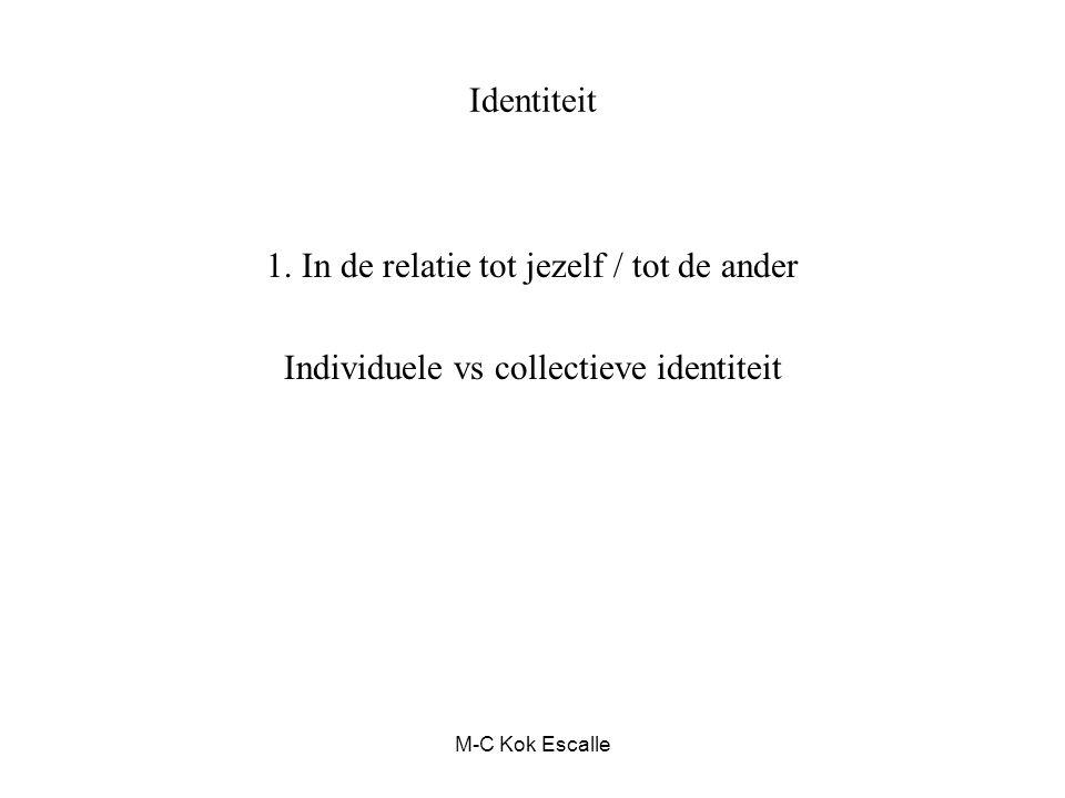 M-C Kok Escalle Identiteit 1. In de relatie tot jezelf / tot de ander Individuele vs collectieve identiteit