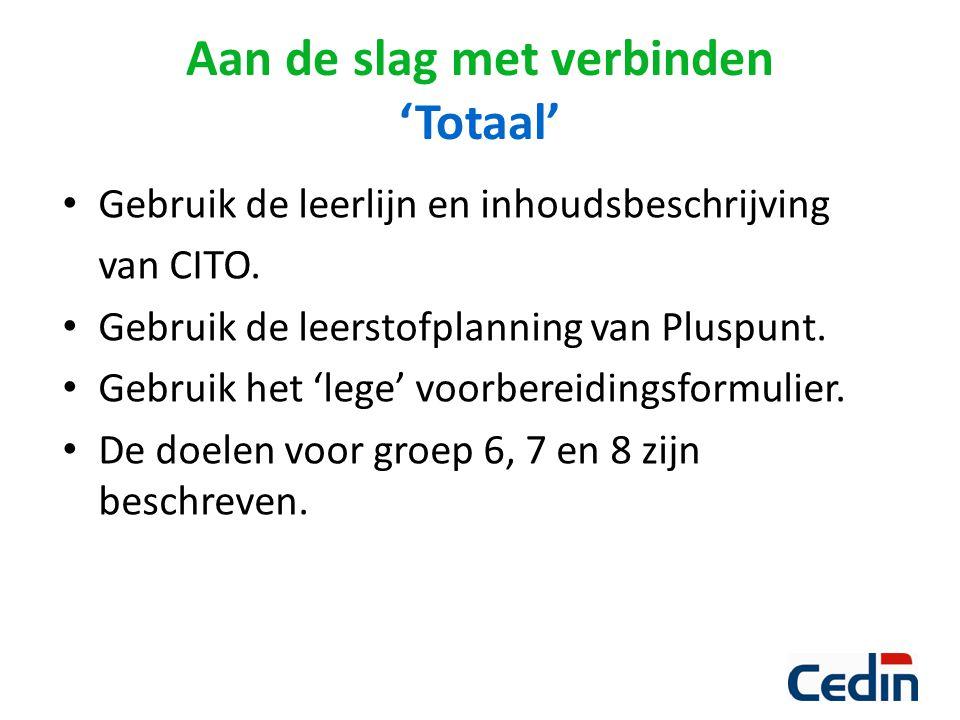 Gebruik de leerlijn en inhoudsbeschrijving van CITO. Gebruik de leerstofplanning van Pluspunt. Gebruik het 'lege' voorbereidingsformulier. De doelen v