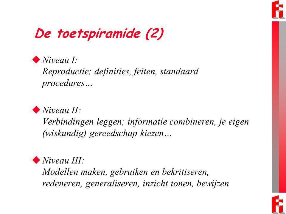 De toetspiramide (2)  Niveau I: Reproductie; definities, feiten, standaard procedures…  Niveau II: Verbindingen leggen; informatie combineren, je eigen (wiskundig) gereedschap kiezen…  Niveau III: Modellen maken, gebruiken en bekritiseren, redeneren, generaliseren, inzicht tonen, bewijzen