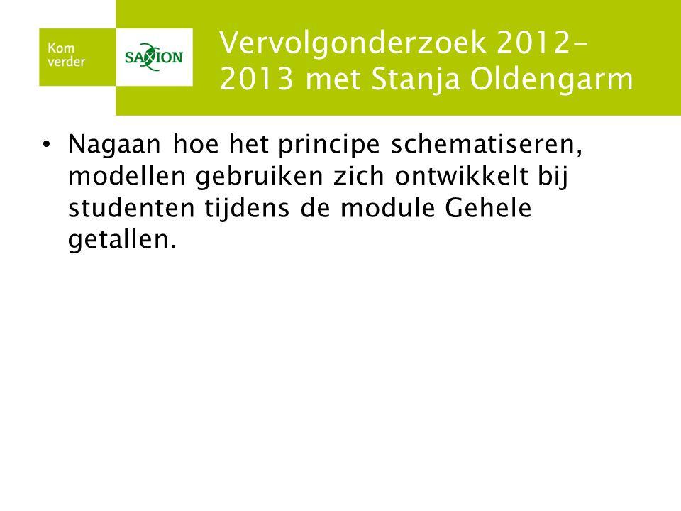 Vervolgonderzoek 2012- 2013 met Stanja Oldengarm Nagaan hoe het principe schematiseren, modellen gebruiken zich ontwikkelt bij studenten tijdens de mo