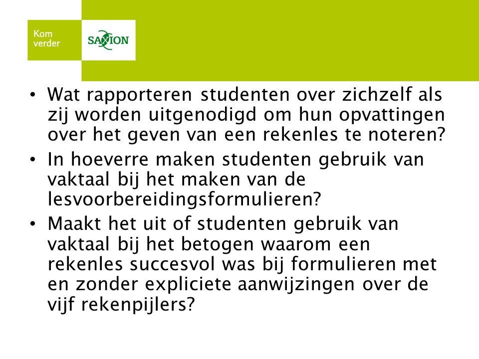 Wat rapporteren studenten over zichzelf als zij worden uitgenodigd om hun opvattingen over het geven van een rekenles te noteren? In hoeverre maken st