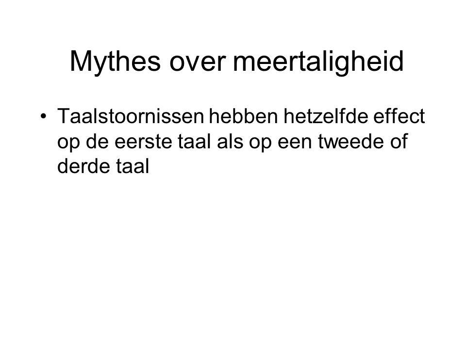 Mythes over meertaligheid Taalstoornissen hebben hetzelfde effect op de eerste taal als op een tweede of derde taal