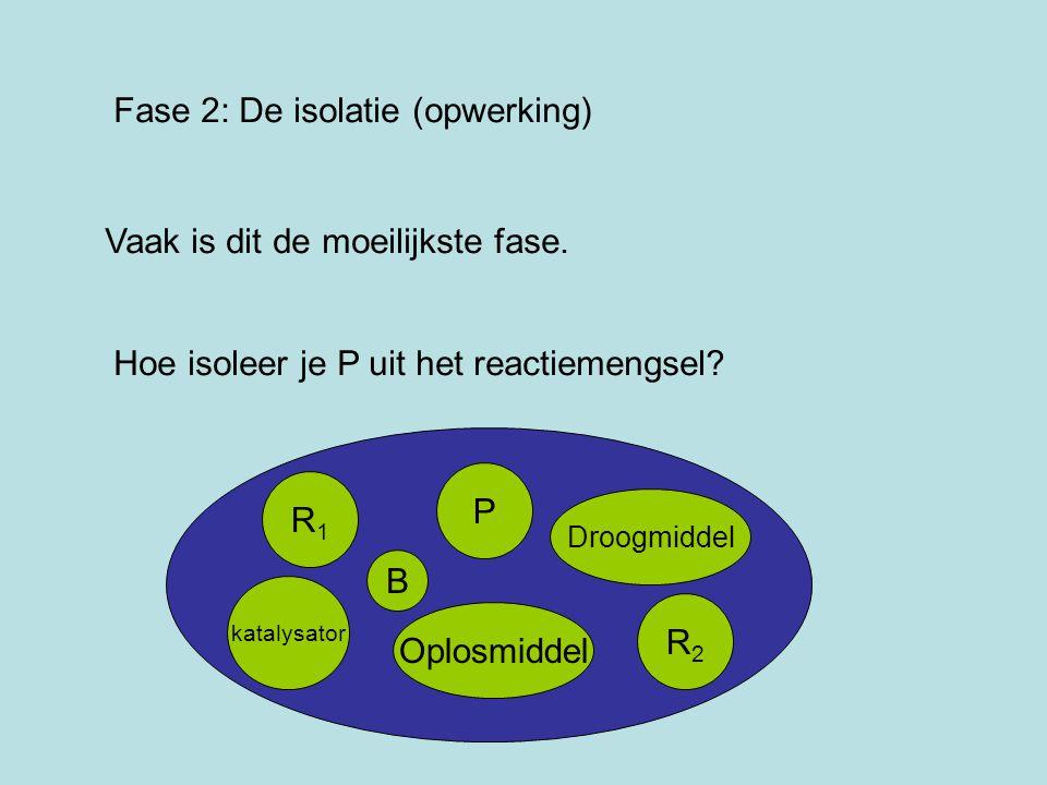 Fase 2: De isolatie (opwerking) Vaak is dit de moeilijkste fase. Hoe isoleer je P uit het reactiemengsel? R1R1 P katalysator R2R2 Droogmiddel Oplosmid