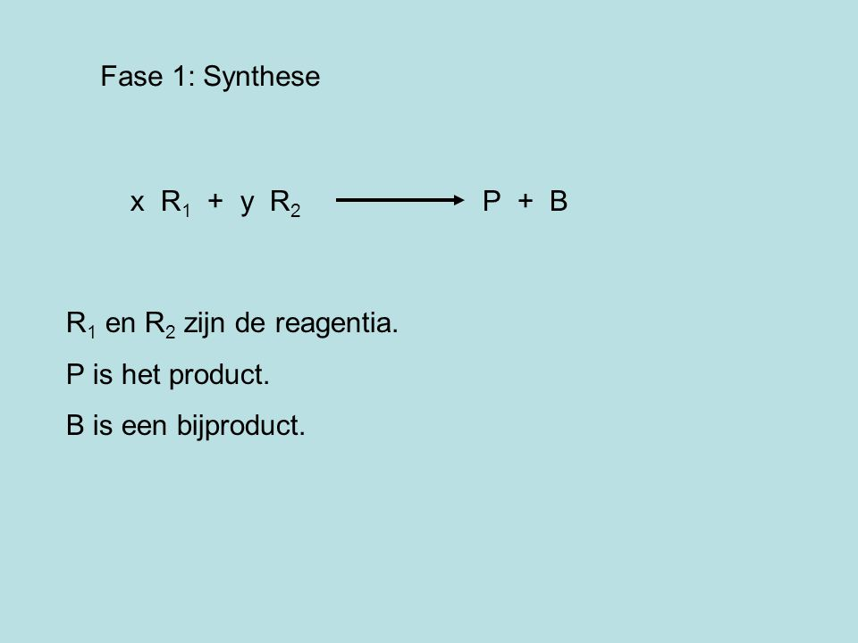 Fase 1: Synthese x R 1 + y R 2 P + B R 1 en R 2 zijn de reagentia. P is het product. B is een bijproduct.