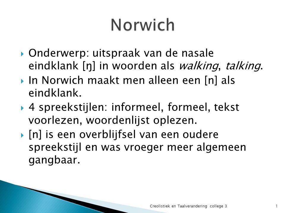  Onderwerp: uitspraak van de nasale eindklank [ŋ] in woorden als walking, talking.  In Norwich maakt men alleen een [n] als eindklank.  4 spreeksti