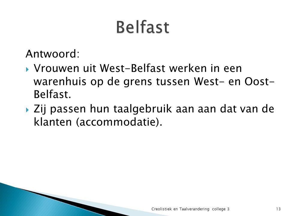 Antwoord:  Vrouwen uit West-Belfast werken in een warenhuis op de grens tussen West- en Oost- Belfast.  Zij passen hun taalgebruik aan aan dat van d