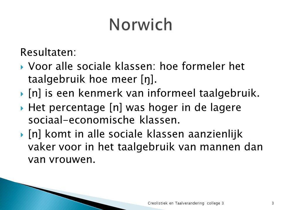 Resultaten:  Voor alle sociale klassen: hoe formeler het taalgebruik hoe meer [ŋ].  [n] is een kenmerk van informeel taalgebruik.  Het percentage [