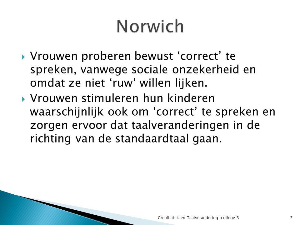  Vrouwen proberen bewust 'correct' te spreken, vanwege sociale onzekerheid en omdat ze niet 'ruw' willen lijken.  Vrouwen stimuleren hun kinderen wa