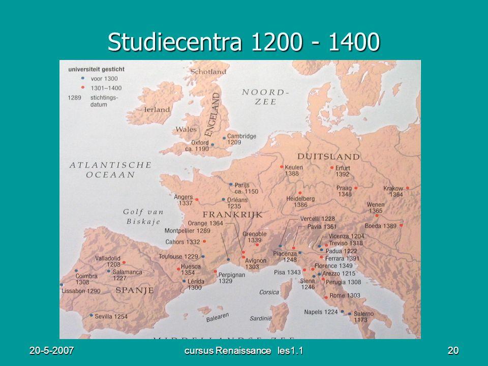 20-5-2007cursus Renaissance les1.120 Studiecentra 1200 - 1400