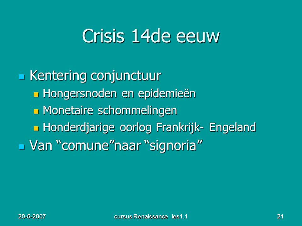 20-5-2007cursus Renaissance les1.121 Crisis 14de eeuw Kentering conjunctuur Kentering conjunctuur Hongersnoden en epidemieën Hongersnoden en epidemieë