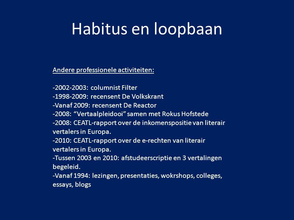 Habitus en loopbaan Andere professionele activiteiten: -2002-2003: columnist Filter -1998-2009: recensent De Volkskrant -Vanaf 2009: recensent De Reac
