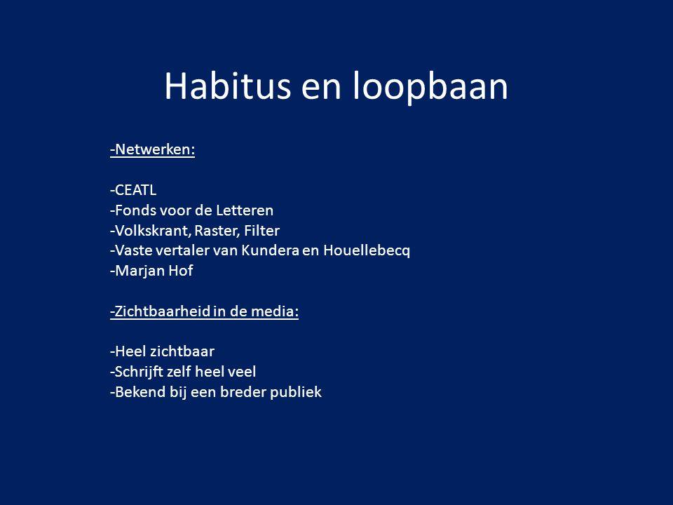 Habitus en loopbaan -Netwerken: -CEATL -Fonds voor de Letteren -Volkskrant, Raster, Filter -Vaste vertaler van Kundera en Houellebecq -Marjan Hof -Zic