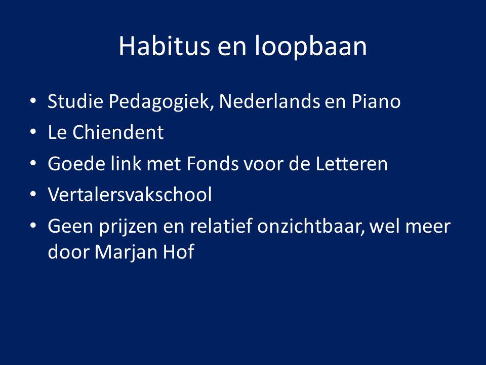 Habitus en loopbaan Studie Pedagogiek, Nederlands en Piano Le Chiendent Goede link met Fonds voor de Letteren Vertalersvakschool Geen prijzen en relat
