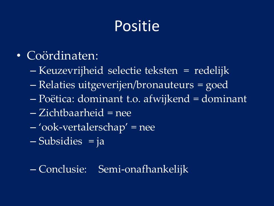 Positie Coördinaten: – Keuzevrijheid selectie teksten = redelijk – Relaties uitgeverijen/bronauteurs = goed – Poëtica: dominant t.o. afwijkend = domin