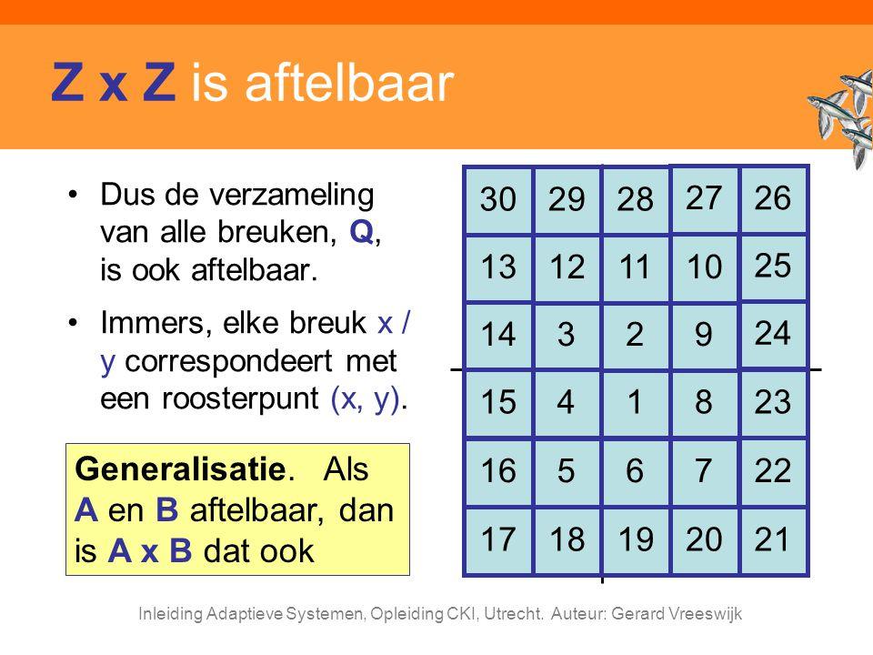 Inleiding Adaptieve Systemen, Opleiding CKI, Utrecht. Auteur: Gerard Vreeswijk Z x Z is aftelbaar Dus de verzameling van alle breuken, Q, is ook aftel