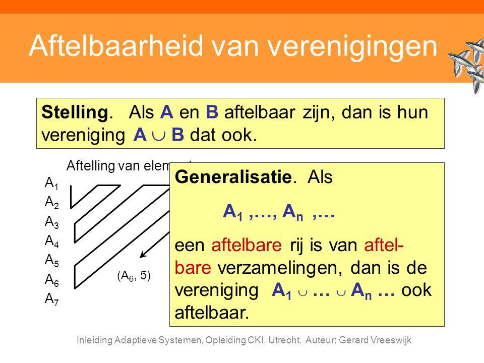 Inleiding Adaptieve Systemen, Opleiding CKI, Utrecht. Auteur: Gerard Vreeswijk Aftelbaarheid van verenigingen Stelling. Als A en B aftelbaar zijn, dan