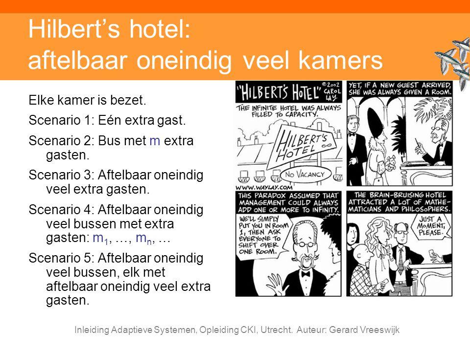 Inleiding Adaptieve Systemen, Opleiding CKI, Utrecht. Auteur: Gerard Vreeswijk Hilbert's hotel: aftelbaar oneindig veel kamers Elke kamer is bezet. Sc