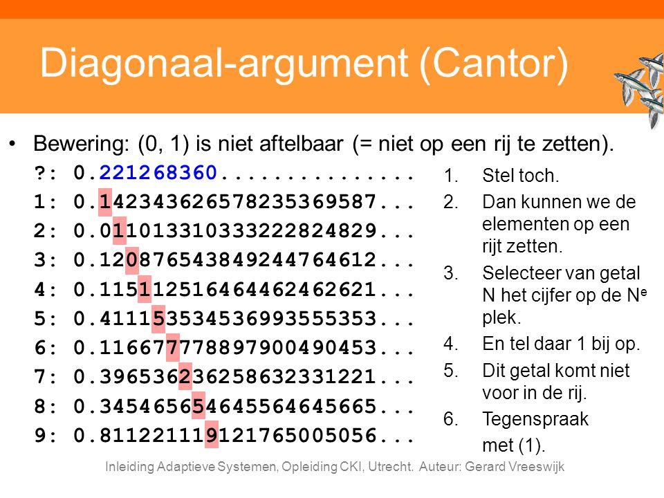 Inleiding Adaptieve Systemen, Opleiding CKI, Utrecht. Auteur: Gerard Vreeswijk Diagonaal-argument (Cantor) Bewering: (0, 1) is niet aftelbaar (= niet