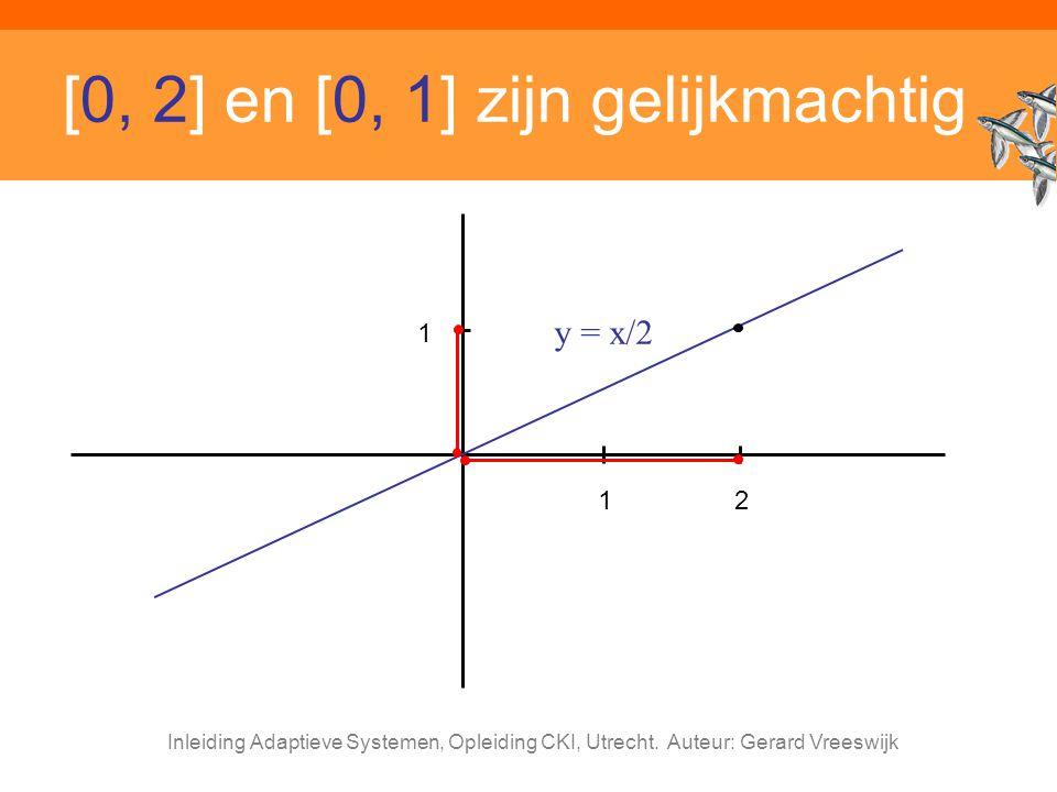 Inleiding Adaptieve Systemen, Opleiding CKI, Utrecht. Auteur: Gerard Vreeswijk [0, 2] en [0, 1] zijn gelijkmachtig 12 1 y = x/2