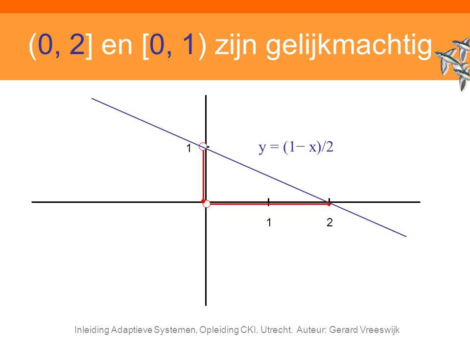 Inleiding Adaptieve Systemen, Opleiding CKI, Utrecht. Auteur: Gerard Vreeswijk (0, 2] en [0, 1) zijn gelijkmachtig 12 y = (1− x)/2 1
