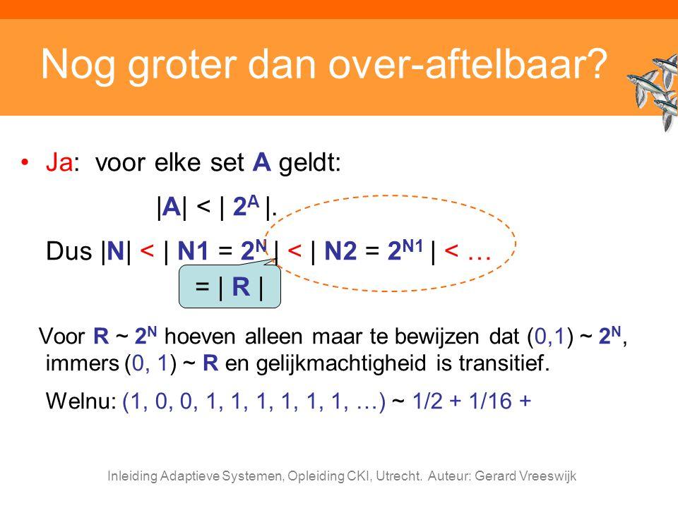 Inleiding Adaptieve Systemen, Opleiding CKI, Utrecht. Auteur: Gerard Vreeswijk Nog groter dan over-aftelbaar? Ja: voor elke set A geldt: |A| < | 2 A |