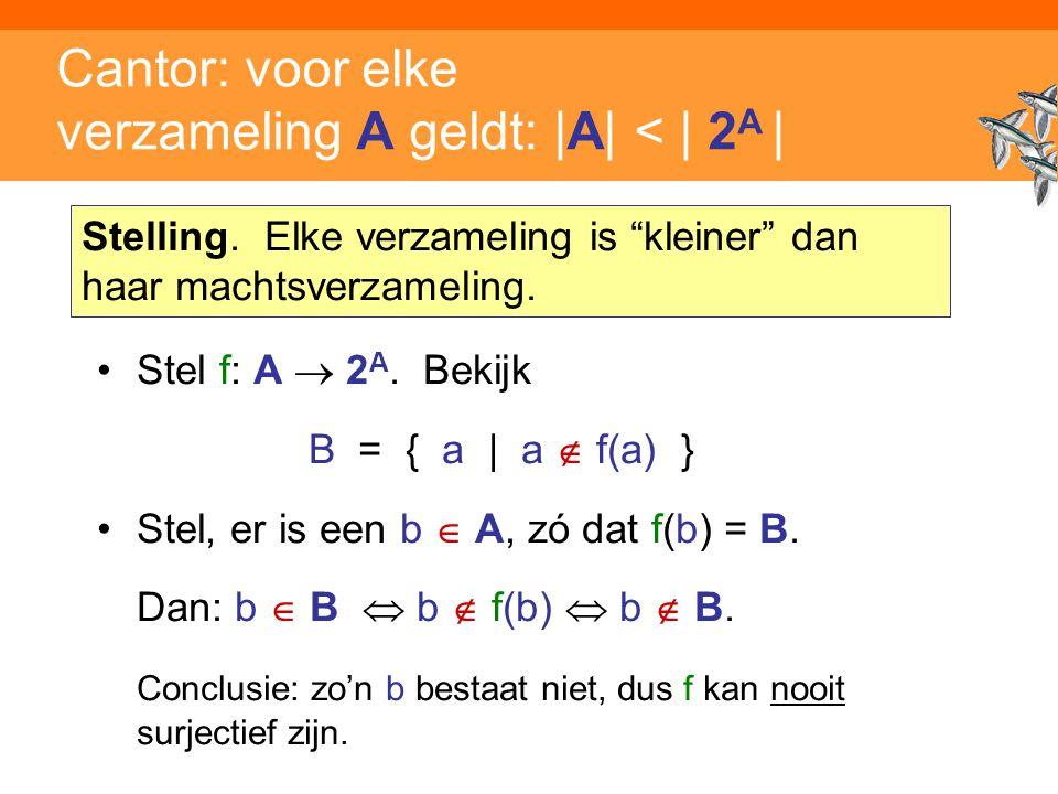 Inleiding Adaptieve Systemen, Opleiding CKI, Utrecht. Auteur: Gerard Vreeswijk Cantor: voor elke verzameling A geldt: |A| < | 2 A | Stel f: A  2 A. B