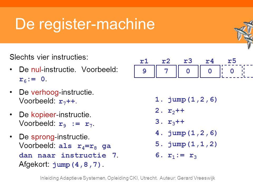 Inleiding Adaptieve Systemen, Opleiding CKI, Utrecht. Auteur: Gerard Vreeswijk De register-machine Slechts vier instructies: De nul-instructie. Voorbe