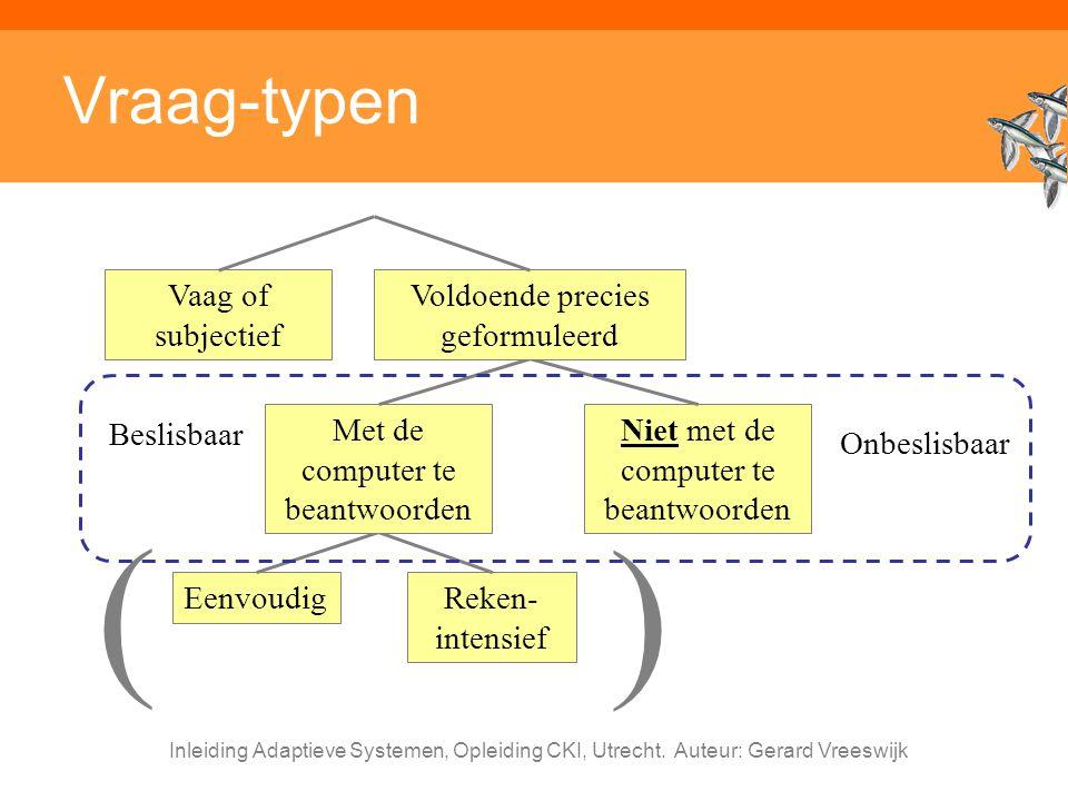 Inleiding Adaptieve Systemen, Opleiding CKI, Utrecht. Auteur: Gerard Vreeswijk Vraag-typen EenvoudigReken- intensief Met de computer te beantwoorden N