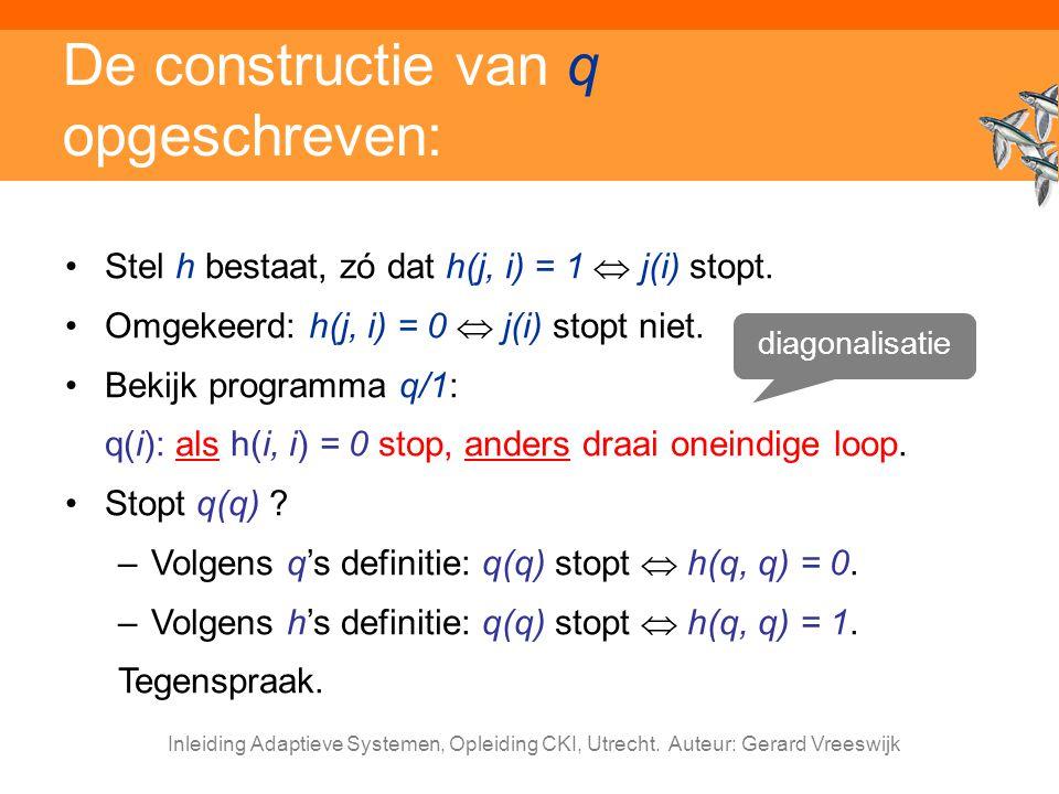 Inleiding Adaptieve Systemen, Opleiding CKI, Utrecht. Auteur: Gerard Vreeswijk De constructie van q opgeschreven: Stel h bestaat, zó dat h(j, i) = 1 
