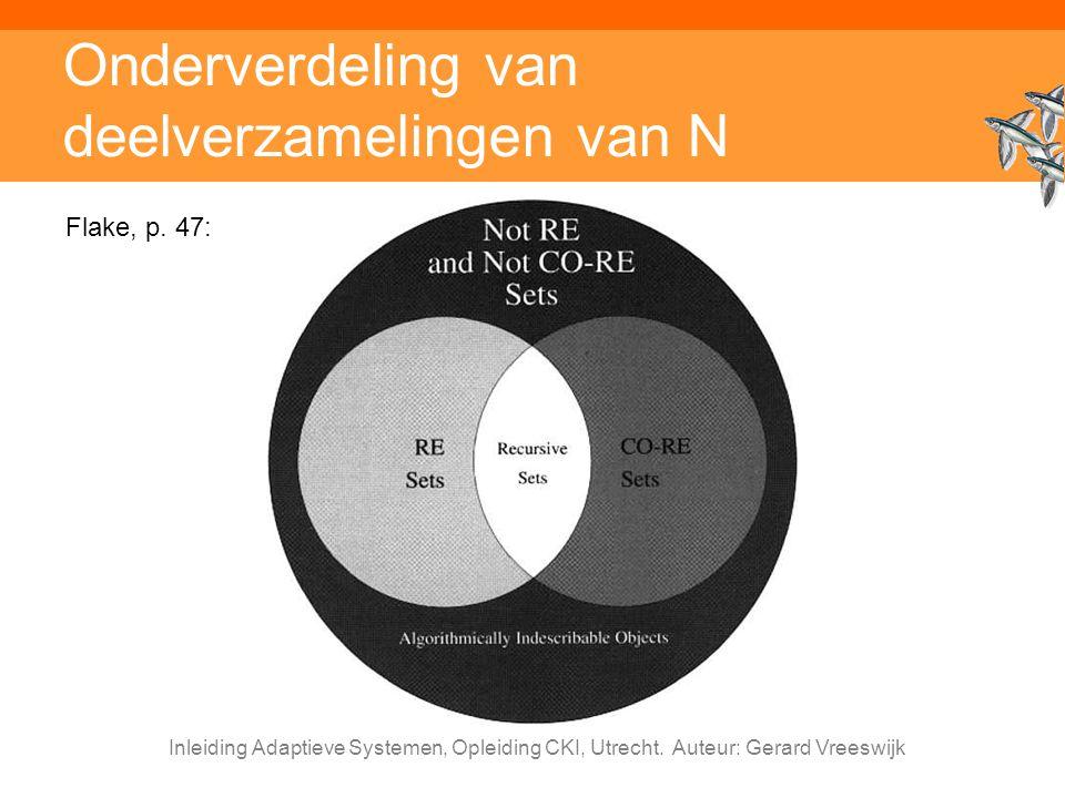 Inleiding Adaptieve Systemen, Opleiding CKI, Utrecht. Auteur: Gerard Vreeswijk Onderverdeling van deelverzamelingen van N Flake, p. 47: